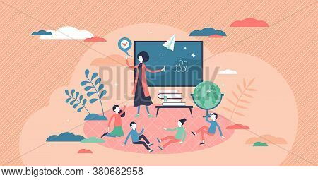 Kids Class With Teachers Lesson For Knowledge Education Tiny Persons Concept. Elementary School Chil