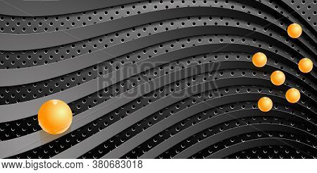 Dark Technology Background. Black Perforated Metal With Waves Texture And Glass Balls. Vector Eps10
