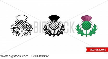 Thistle Symbol Of Scotland Icon Of 3 Types Color, Black And White, Outline. Isolated Vector Sign Sym