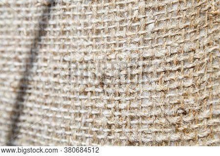 Burlap Made From Hemp. Coarse, Durable Fabric Made From Thick Yarn.