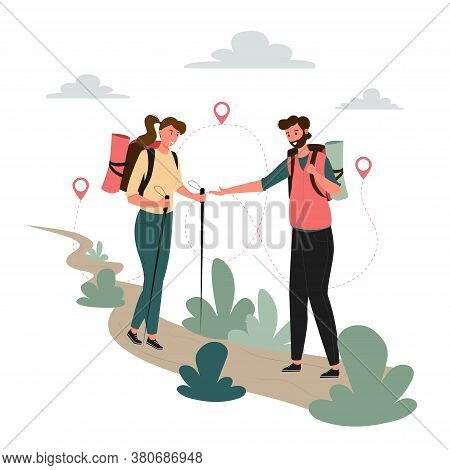 Tourists People Group Man Woman Couple Hiking. Woman On Hiking Trip A Man Gives A Hand To A Woman. W