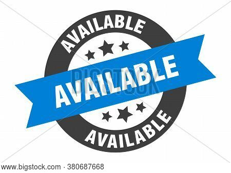 Available Sign. Available Blue-black Round Ribbon Sticker