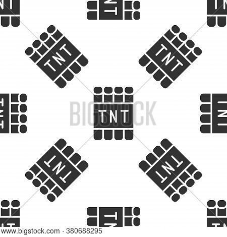 Grey Detonate Dynamite Bomb Stick And Timer Clock Icon Isolated Seamless Pattern On White Background