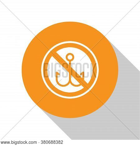 White No Fishing Icon Isolated On White Background. Prohibition Sign. Orange Circle Button. Vector