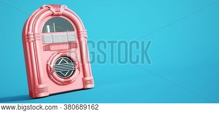 3D rendering of a pink jukebox on a blue background