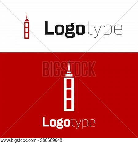 Red Skyscraper Icon Isolated On White Background. Metropolis Architecture Panoramic Landscape. Logo