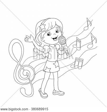 Coloring Page Outline Of Cartoon Girl Singing A Song With Melody And Music. Coloring Book For Kids