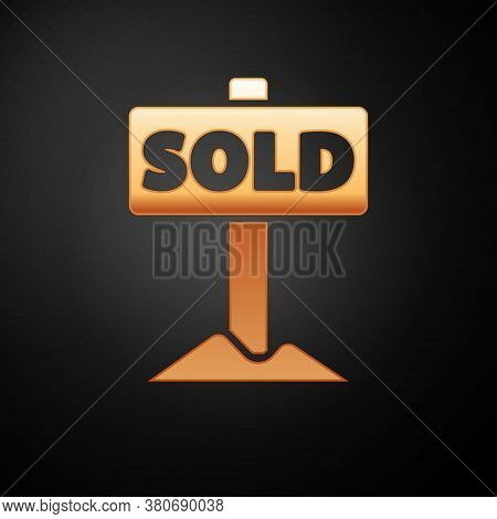 Gold Hanging Sign With Text Sold Icon Isolated On Black Background. Sold Sticker. Sold Signboard. Ve
