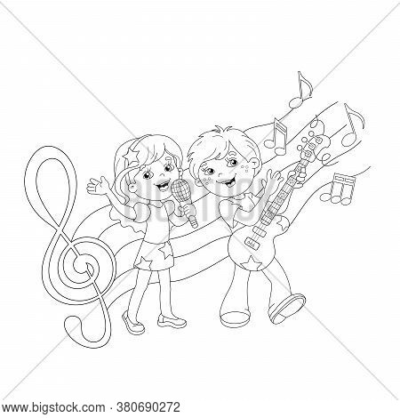 Coloring Page Outline Of Cartoon Boy And Girl Singing A Song With A Guitar With Melody And Music. Co