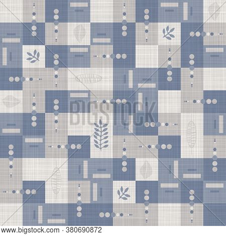 Seamless French Farmhouse Linen Doodle Print Background. Provence Blue Gray Linen Rustic Pattern Tex