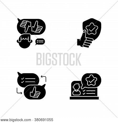 Social Communication Black Glyph Icons Set On White Space. Decision Making, Reliability, Criticism A