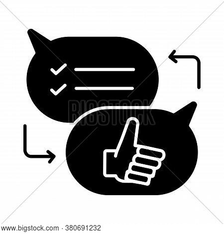 Criticism Black Glyph Icon. Communication Skills, Conversation Silhouette Symbol On White Space. Opi