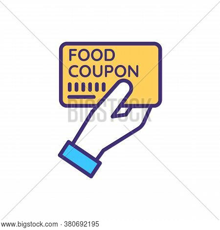 Food Coupon Rgb Color Icon. Charity Organization. Feed Homeless And Jobless. Humanitarian Help With
