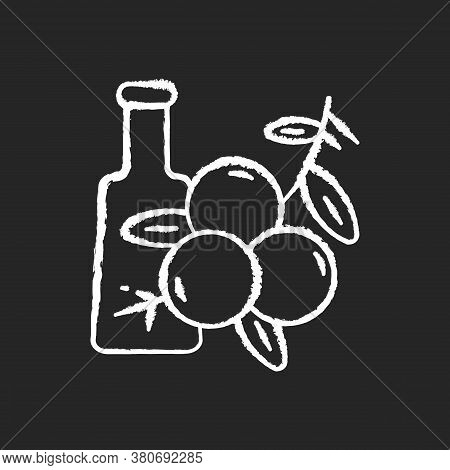 Juniper Chalk White Icon On Black Background. Food Flavoring. Cooking Condiment. Herbal And Traditio