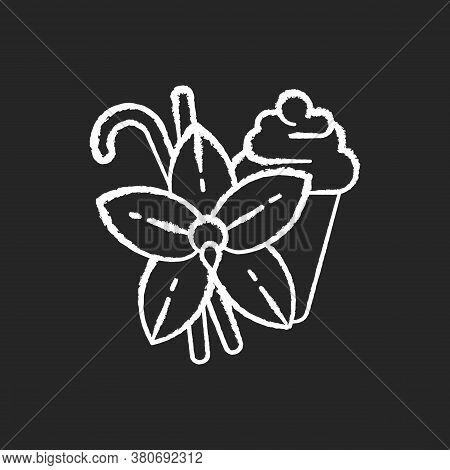 Vanilla Chalk White Icon On Black Background. Vanilla Flower And Sticks. Aromatic Flavor. Pastries A