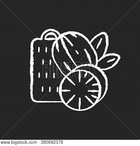Nutmeg Chalk White Icon On Black Background. Nut Meg . Evergreen Tree Seeds. Desserts Flavoring. Coo