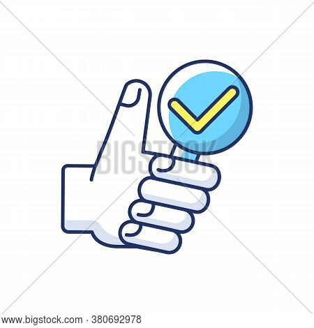 Complete Research Rgb Color Icon. Thumbs Up With Magnifying Glass. Vote For Right Answer. Accept And