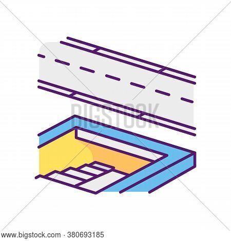Underground Pedestrian Walkway Rgb Color Icon. Safe Pedestrian Crosswalk. Underground Tunnels. Moder