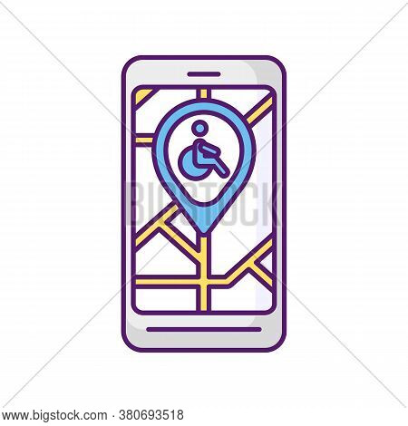 City Navigation App Rgb Color Icon. City Map App For Wheelchair Users. Navigation In Public Places.