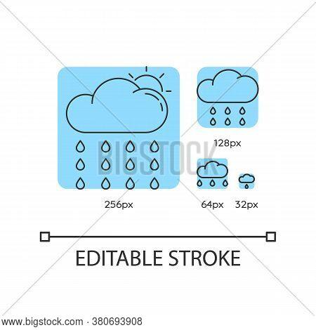 Drizzle Turquoise Linear Icons Set. Rainy Season, Summer Rain. Sun Behind Raining Cloud. Thin Line C