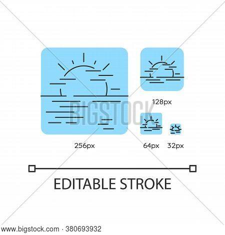 Sea Haze Turquoise Linear Icons Set. Morning Fog, Meteorological Forecast, Misty Weather. Thin Line