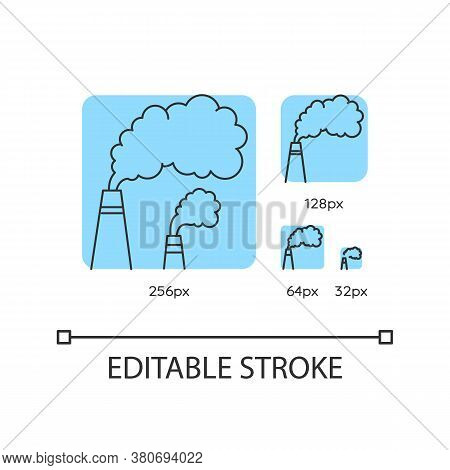 Smoke Turquoise Linear Icons Set. Urban Smog, Industrial Pollution. Chimneys Emitting Toxic Fumes. T