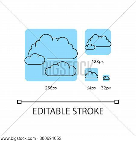 Cloudy Weather Turquoise Linear Icons Set. Overcast, Moody Sky, Meteo Forecasting. Thin Line Customi