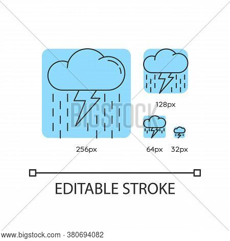 Heavy Showers Turquoise Linear Icons Set. Meteo Forecast. Raining Thundercloud With Lightning Bolt.