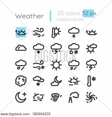 Meteorological Forecast Linear Icons Set. Extreme Weather. Sun And Cloud With Rain. Customizable Thi