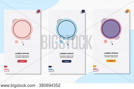 Set Of Minimalist Circle Background With Memphis Style. Suitable For Social Media Stories Post Templ