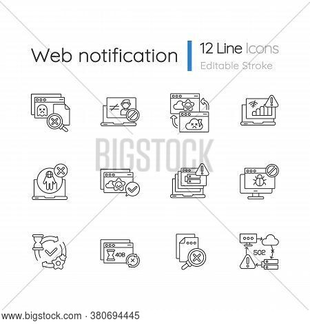 Web Notifications Linear Icons Set. Different Http Status Codes Customizable Thin Line Contour Symbo