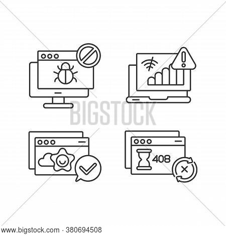 Internet Browsing Notifications Linear Icons Set. Virus, Connection Problems, Request Timeout, Succe
