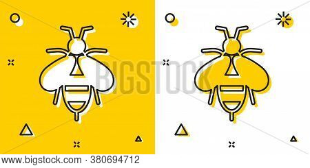 Black Bee Icon Isolated On Yellow And White Background. Sweet Natural Food. Honeybee Or Apis With Wi