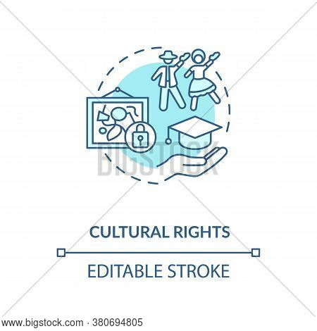 Cultural Rights Concept Icon. Cultural Heritage Protection Idea Thin Line Illustration. Ethnic Group