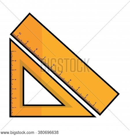 Isolated Ruler And Square Ruler Icon. School Supplies Icon - Vector