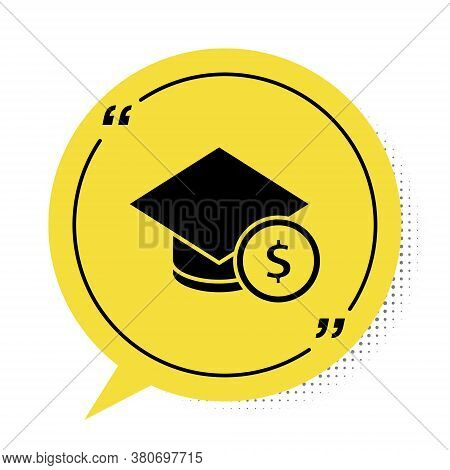 Black Graduation Cap And Coin Icon Isolated On White Background. Education And Money. Concept Of Sch