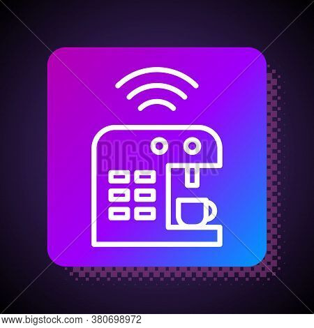 White Line Smart Coffee Machine System Icon Isolated On Black Background. Internet Of Things Concept