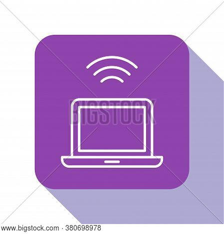 White Line Wireless Laptop Icon Isolated On White Background. Internet Of Things Concept With Wirele