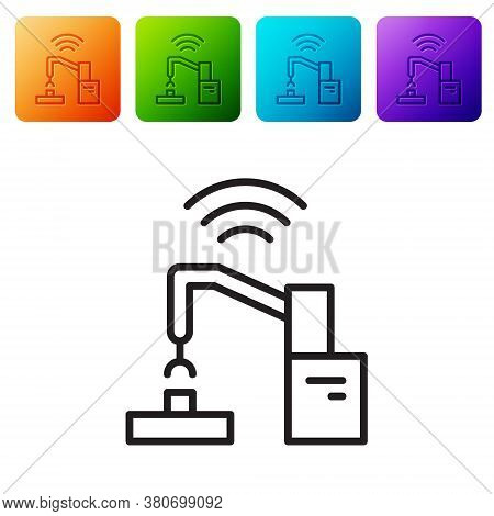Black Line Industrial Machine Robotic Robot Arm Hand Factory Icon Isolated On White Background. Indu