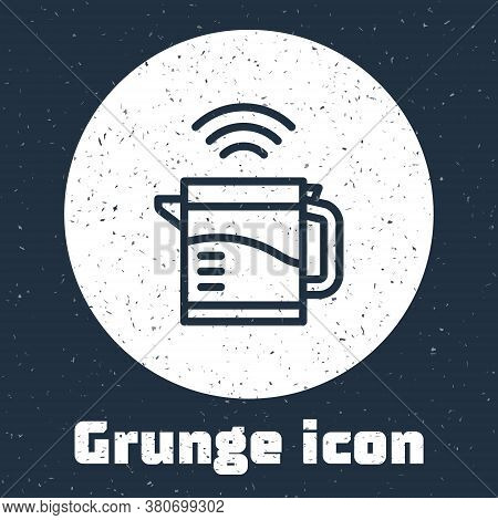 Grunge Line Smart Electric Kettle System Icon Isolated On Grey Background. Teapot Icon. Internet Of