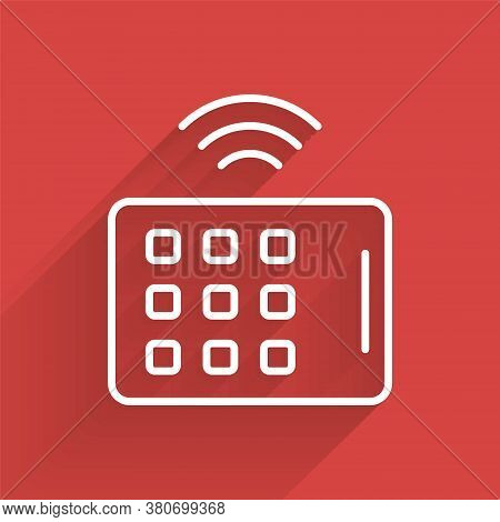 White Line Wireless Tablet Icon Isolated With Long Shadow. Internet Of Things Concept With Wireless