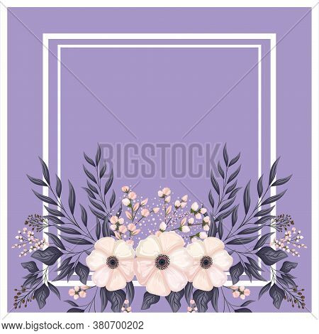 Frame With White Flowers Buds And Leaves Painting Design, Natural Floral Nature Plant Ornament Garde