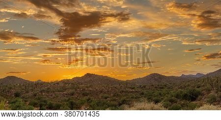 Panoramic Sunset Over A Mountain Landscape In The Sonoran Desert Of Arizona