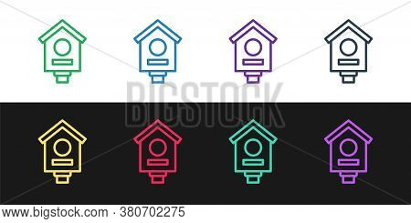 Set Line Bird House Icon Isolated On Black And White Background. Nesting Box Birdhouse, Homemade Bui