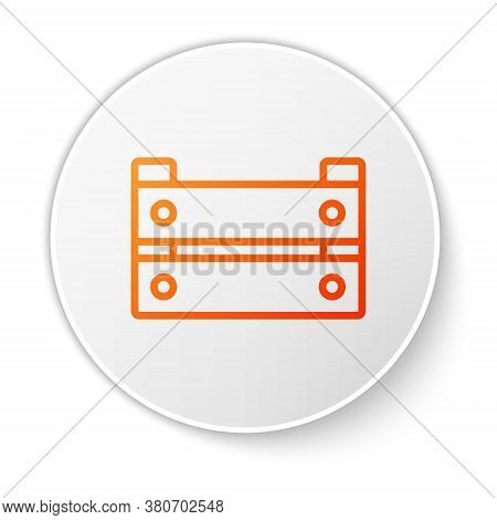 Orange Line Wooden Box Icon Isolated On White Background. Grocery Basket, Storehouse Crate. Empty Wo