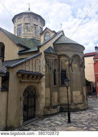 Old Armenian Church In Lviv City. Old Architectural Landmark. Old Town Square. Cathedral. Facade Of