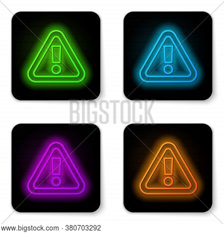Glowing Neon Line Exclamation Mark In Triangle Icon Isolated On White Background. Hazard Warning Sig