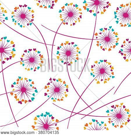 Dandelion Blowing Plant Vector Floral Seamless Pattern. Simple Flowers With Heart Shaped Petals. Dan