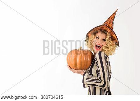 Halloween Advertising. Woman With Pumpkin. Trick Or Treat. Happy Halloween. Halloween Party Girl. Ha