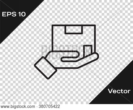 Black Line Delivery Insurance Icon Isolated On Transparent Background. Insured Cardboard Boxes Beyon